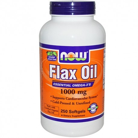 NOW Flax Seed Oil Organic 1000 mg - 250 дражета