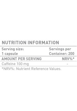 Battery Nutrition Caffeine 200 caps.