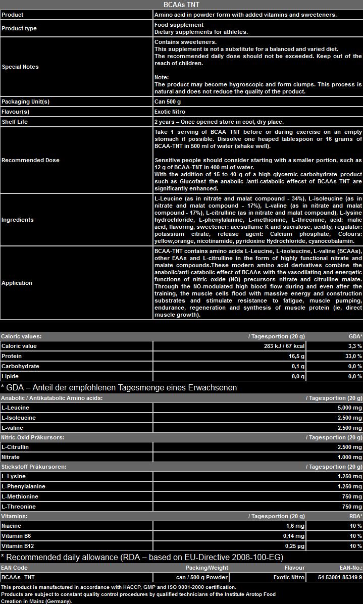 BCAA - TNT PEAK - Хранителни Добавки Протеини Креатини Аминокиселини