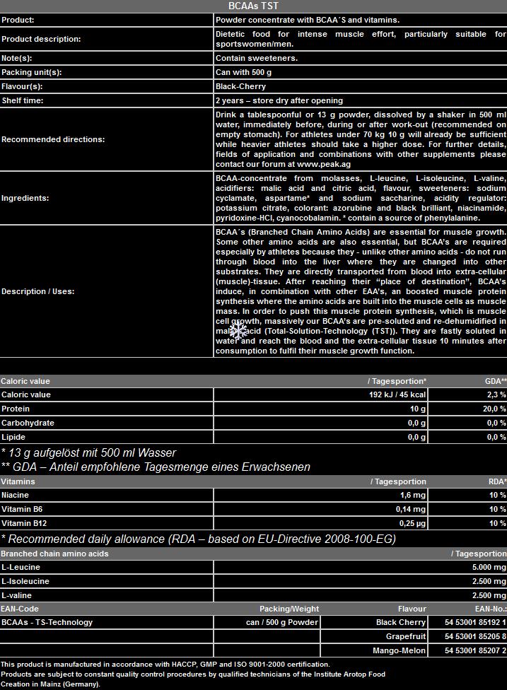 BCAAs -TS-Technology PEAK - Хранителни Добавки Протеини Креатини Аминокиселини